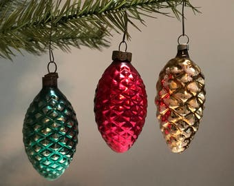 Set of 3 Vintage Pinecone Ornaments