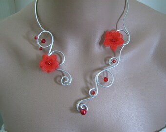 Red/silver necklace, aluminum/aluminium p dress bridal/wedding/evening/Cocktail flower/bead (not cheap, small price)