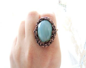 Spring Gemstone Ring, Statement Ring, Wire Wrapped Copper Ring, Big Woodland Gemstone Ring