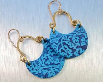 Blue Polymer Clay Earrings - Blue Floral Earrings - Brass and Polymer Earrings
