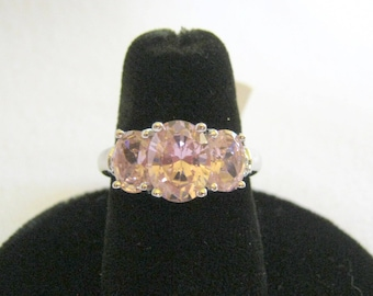 New Never Worn 925 STERLING SILVER #0990 Pink Amethyst RING with Tag Size 7