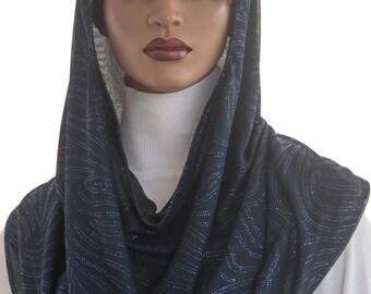 Koul SHôl Head Hoodie™ Head Hoodie Blue Glitter Swirls Cowl Hoodie Fully Lined Veil Devotional Head Hoodie Veil Hoodie Hijab Hoodie Handmade