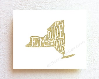 New York map art Illustration print - the empire state - wall art poster, ink drawing typographic print, boho chic poster home decor