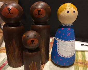 Goldilocks and the three bears, wooden peg doll, fairytale, story props, porridge, peg doll set