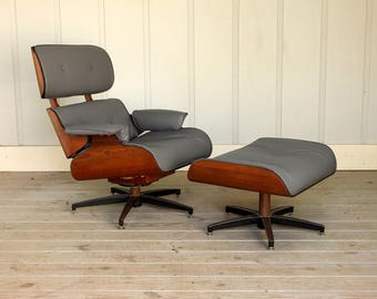 Mid Century Eames Style Lounge Chair & Ottoman by Charlton Chair Company 50's 60's New Grey Fabric Walnut Retro Atomic Modern