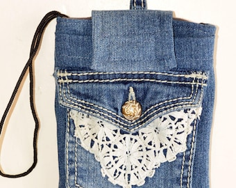Small denim crossbody phone purse, small phone bag, jeans pocket bag, phone sleeve, phone case, clip on bag