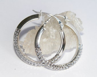 Handcrafted .925 Sterling Silver Diamond-Accented Hoop Earrings-1.27""