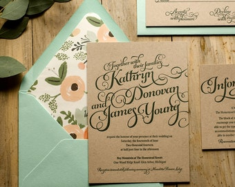 Rustic Wedding Invitation Mint Kraft Wedding Invitation
