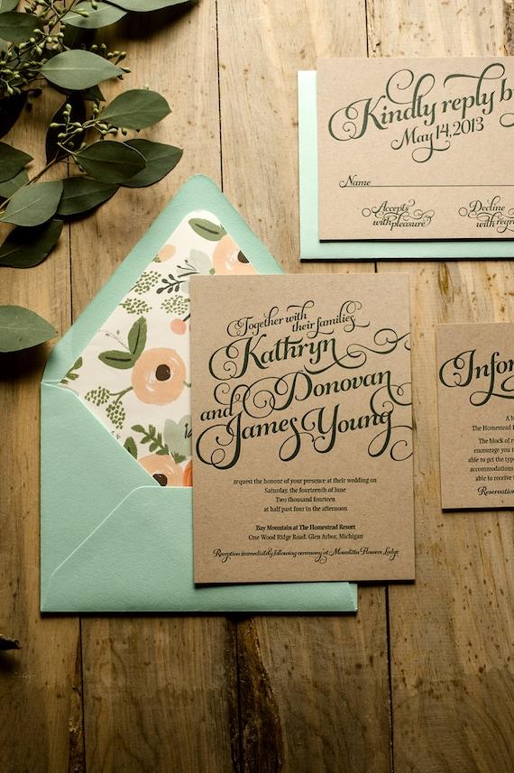 Rustic Wedding Invitation Mint Kraft Letterpress Wedding