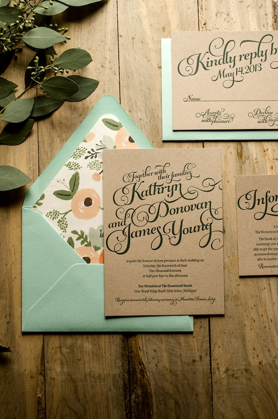 Rustic Wedding Invitation Mint & Kraft Letterpress Wedding