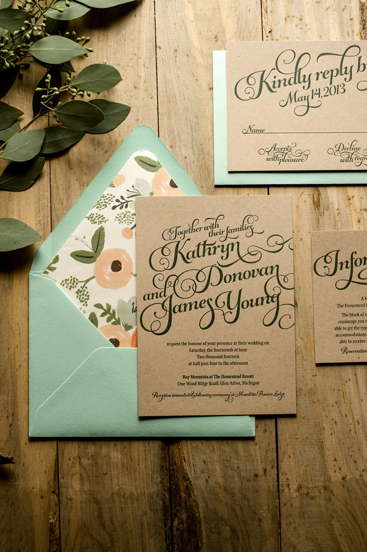 Rustic Wedding Invitation Mint & Kraft Wedding Invitation