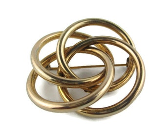 Ronci 12k Gold Filled Four Interlocking Circles Intersecting Hoops  Pin