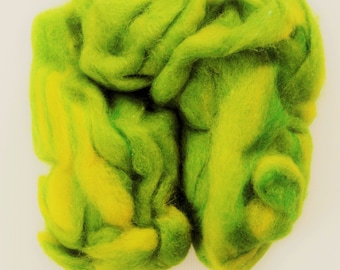 Roving, exotic alpaca, wool, mohair fiber roving, 3.75 oz skein bright grass green & yellow, hand dyed natural wool, Avalon Springs Farm
