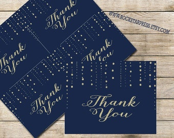 Gold and Navy Thank You Card, INSTANT DOWNLOAD, Digital File, Printable _1229