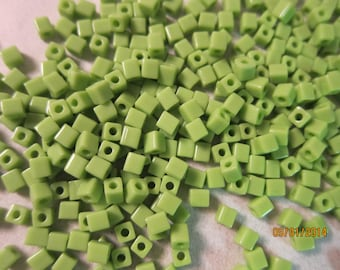 4x4mm, Miyuki Cube or Square Beads, Opaque Light Green - Available in 20g, 30g & 50g Pkgs and also in Larger Pkgs