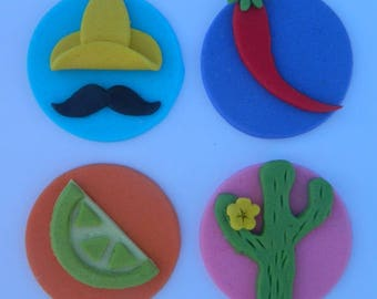 12 edible MEXICAN THEME MEXICO cactus chilli sombrero moustache lime cake cupcake topper decoration wedding anniversary birthday cookie