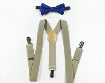 kids bow ties and suspenders, boys suspenders and bow tie, khaki suspenders, baby boy clothes, baby boy, khaki suspenders, blue bowtie