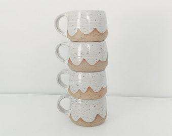 Cloud Ceramic Espresso Mugs, Mini ceramic cup espresso cups, white speckled pottery coffee cup pottery mug child's mug espresso mug set
