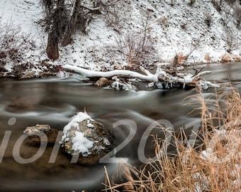 Resisting the Freeze, stream, water, winter, snow, Landscape, Utah, Photography, long exposure, panorama
