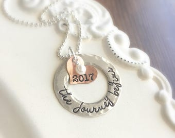 Graduation Necklace . Graduate Necklace  . Graduation Gifts . Silver . Stamped Jewelry . Custom Jewelry . Graduating