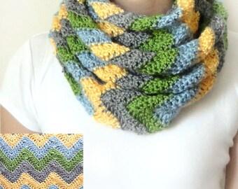 Chevron Infinity Scarf - PDF Crochet Pattern - Instant Download