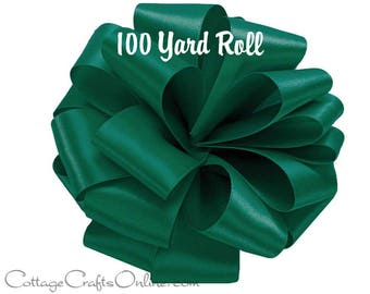 "Satin Ribbon 5/8"" width, Forest Green Double Face Satin, 100 YARD ROLL, Offray, Wedding, Corsage Double Sided Satin Ribbon"