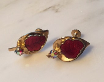 Vintage gold tone autumn leaf earrings with red aurora borealis rhinestone