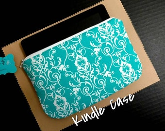 Kindle Fire Sleeve Teal Damask Cover Case
