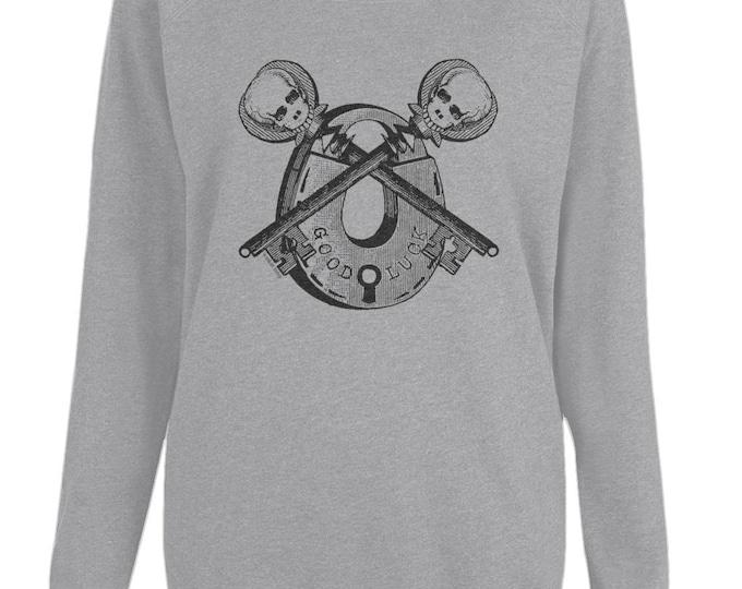 Good Luck Skeleton Keys And Padlock Altered Vintage Art Womens Organic Cotton Raglan Sweatshirt. Grey.