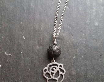 Rose & Lava Stainless Steel Diffuser Necklace --- Lava Rock Aromatherapy Jewelry