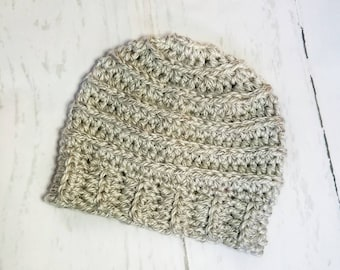 Messy Bun Hat.Ready to Ship//GRAY HEATHER Messy Bun Beanie//Pom Pom//Crochet Hat//Runner Hat