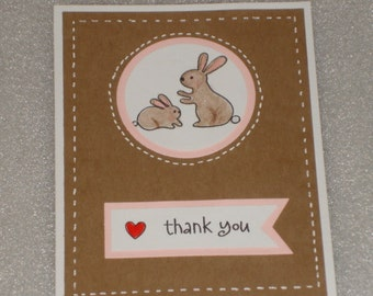 Baby Bunny Rabbit Thank You Card Set Handmade
