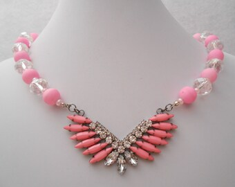 pink and jeweled crystal necklace