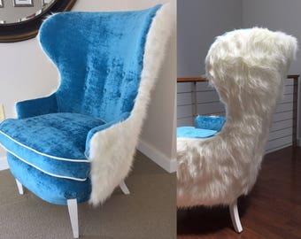 Turquoise Velvet Faux Fur Chair