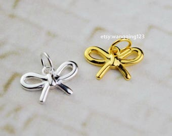 2 sterling silver bow charm pendant charms pendants NR31