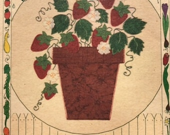 Fabric Applique kit/Strawberry Plant/clothing decoration/tote bag/wall hanging/iron on/fus o bond/fusible applique/apron