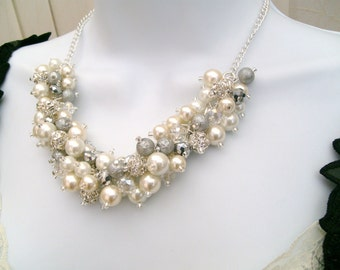Ivory White and Silver Pearl Beaded Necklace with Rhinestones, Bridal Jewelry, Cluster Necklace, Chunky Necklace, Bridesmaid Gift, Wedding
