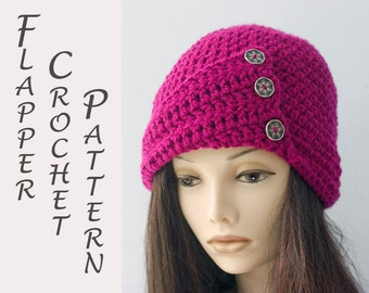 1920's Flapper Hat Crochet Pattern, Crochet Cloche Hat Pattern, Instant Download, Button Brim Hat PDF  Pattern