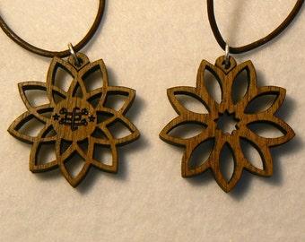 Baha'i 9 pointed star wood pendants