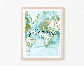 Hello World Aqua Vertical Nursery Art. Nursery Wall Art. Nursery Prints. Nursery Decor. Boy Wall Art. Adventure Nursery. Map Print.