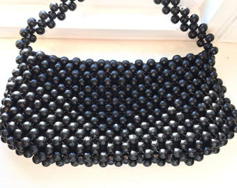 Vintage La Regale Black Wood Bead Handbag
