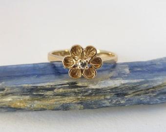 Vintage 1960's 14K Yellow Gold Blossom Flower Diamond Ring
