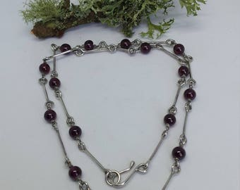 Sterling Silver Necklace of Hand Forged Links and Garnet Beads