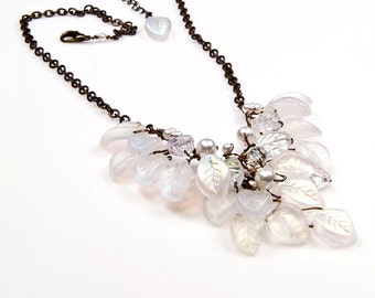 White Beaded Necklace, Bib Necklace, Bridal Jewelry, Nature Jewelry, Winter Wedding Jewelry, N236