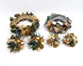 Vintage Stretch Shell Bracelet & Earrings Sets - 1960s - Japan
