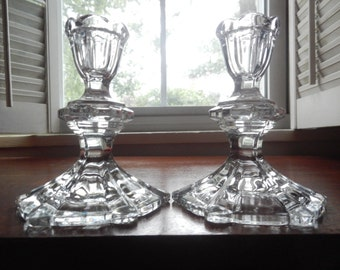 Handsome Pair of Vintage Glass Candleholders!