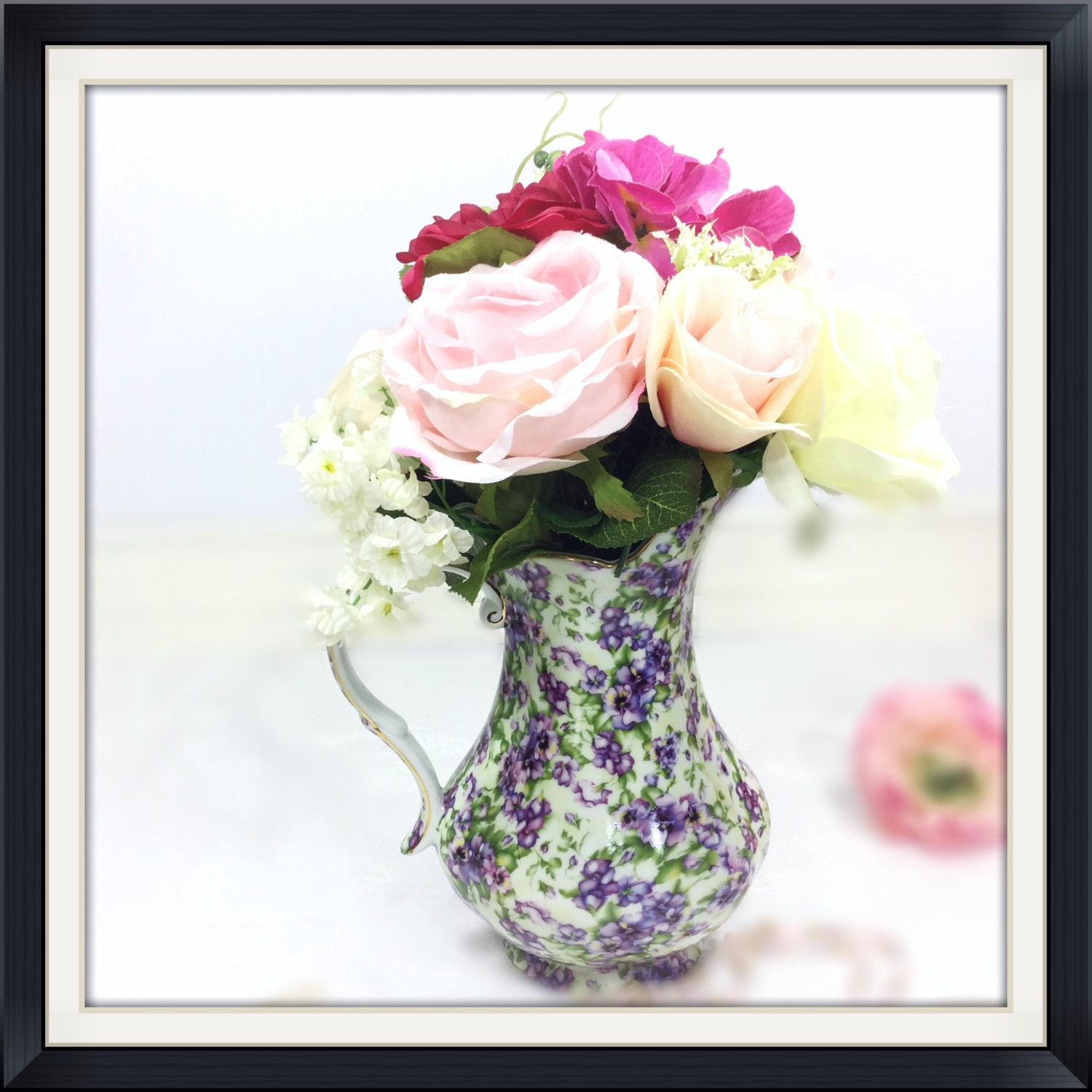 Small Royal Danube Purple Floral Pitcher Vase For Weddings Tea Party ...