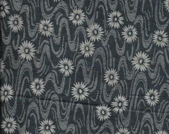 "New Blue Zen Garden with Flowers 100% Cotton Fabric 35"" x 42"" Piece"