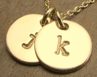 Two Charm Initial Necklace | Hand Stamped Gold Filled | Gold Letter Necklace | JENNA DUO Necklace by E. Ria Designs