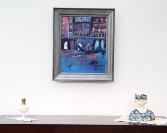 Framed painting (mix technique) canvas travel _ gondola